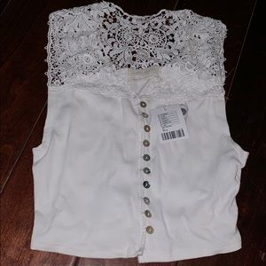 Lace Button up Crop